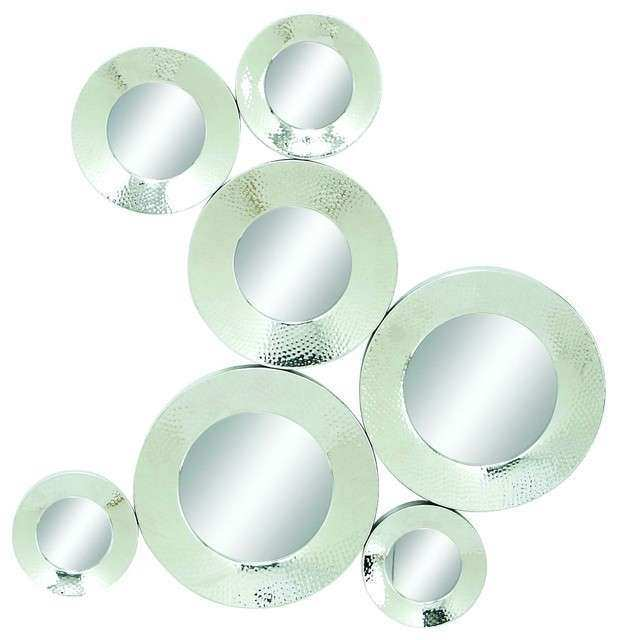 Polished Metal Silver Chrome Circles Abstract Wall Mirror
