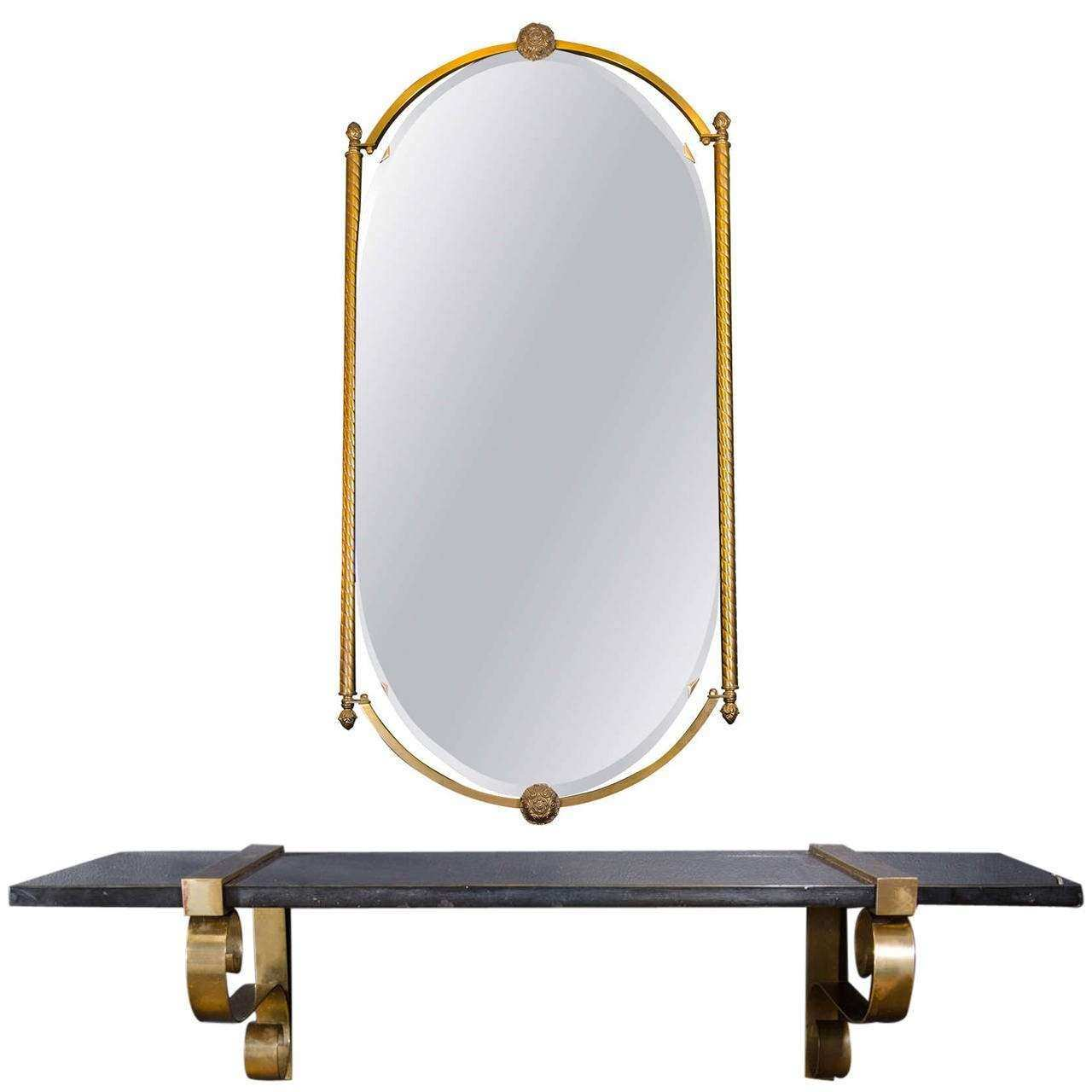 Art Deco or Hollywood Regency Wall Mirror with Marble