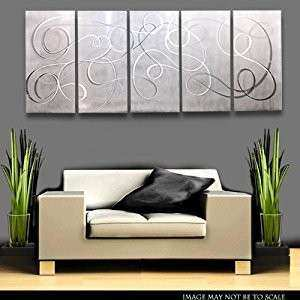 Amazon White with Silver Details Metal Wall Art