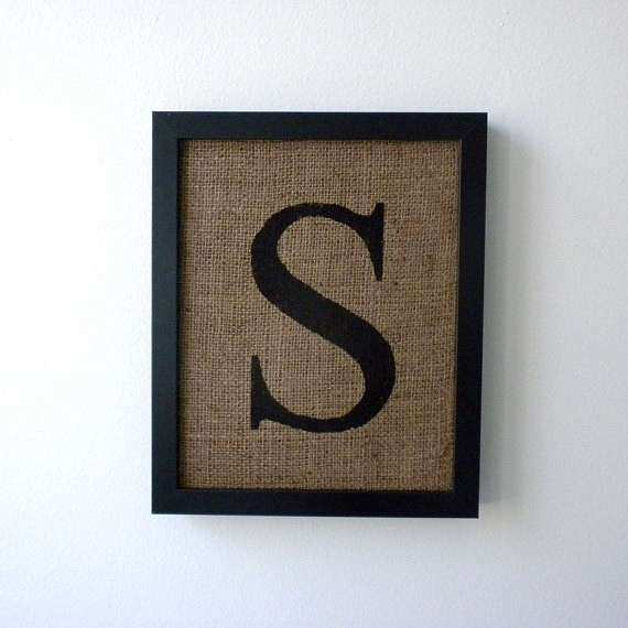 Beautiful Monogram Wall Art Elegant Letter S Burlap Wall Decor Alphabet Art Monogram  By Laxtoyvr
