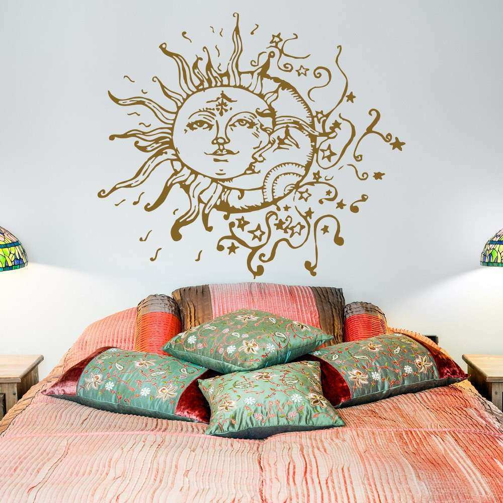 Sun And Moon Vinyl Wall Decal Sun Moon Stars Dual Ethnic Night