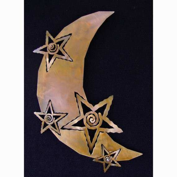 Moon and Stars Metal Wall Art Rust Finish by ChrisCrooks
