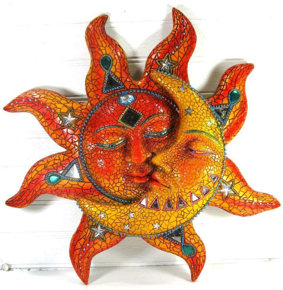 Sun and Moon Wall Art with Jewels and Mirrors Resin Home