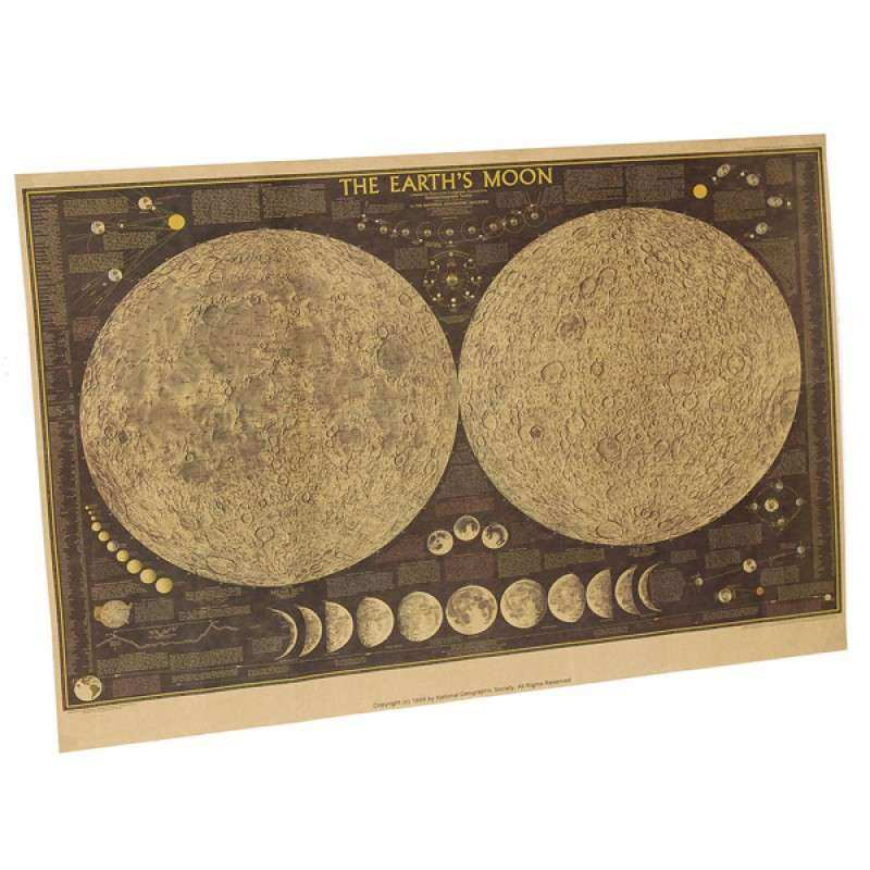 Buy Vintage Moon Map Kraft Paper Poster Home Wall