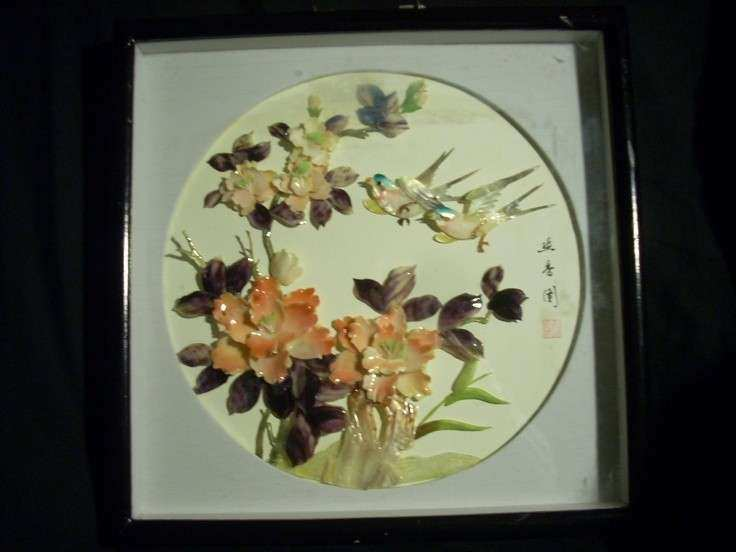 CHINESE 3D SHADOW BOX WALL ART MOTHER OF PEARL ABALONE