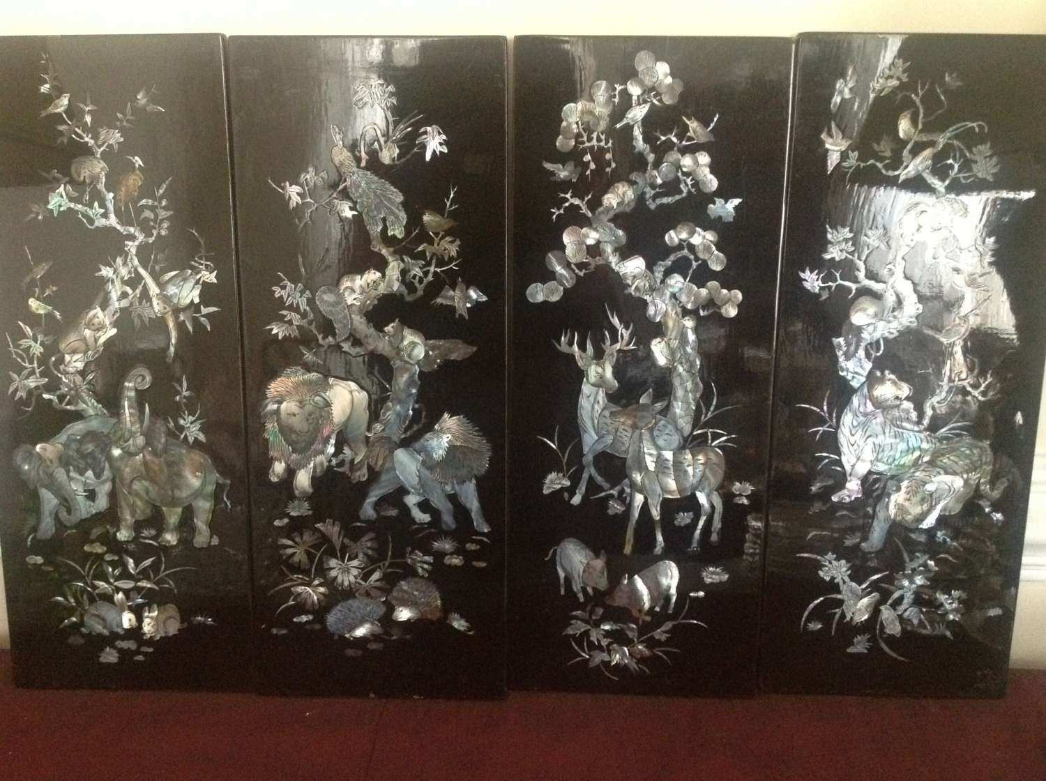 Black Lacquer Shell Mother of Pearl Wall Panels by Sylliestore