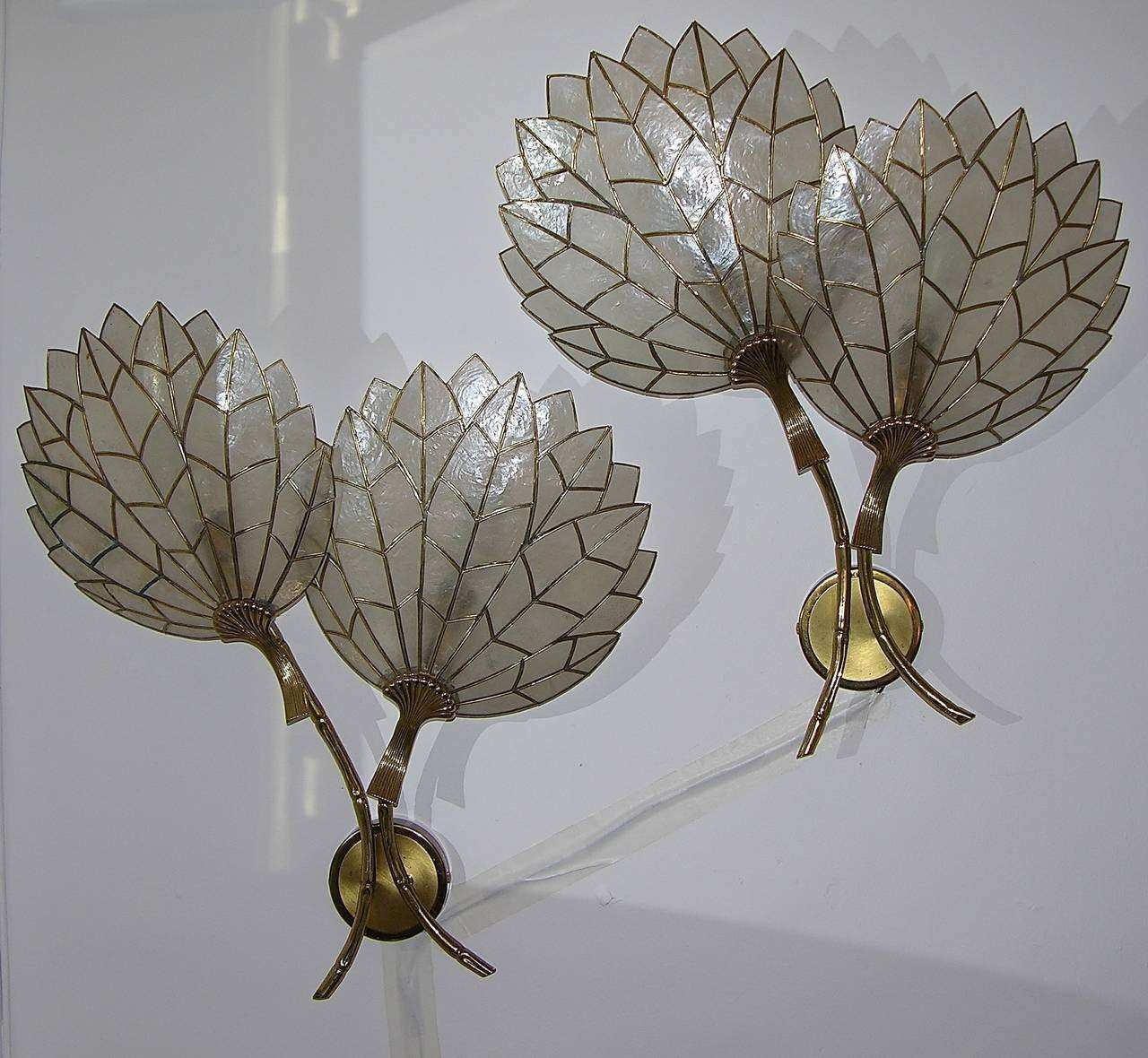 Whimsical Art Deco Pair of Double Flower Leaded Sconces in
