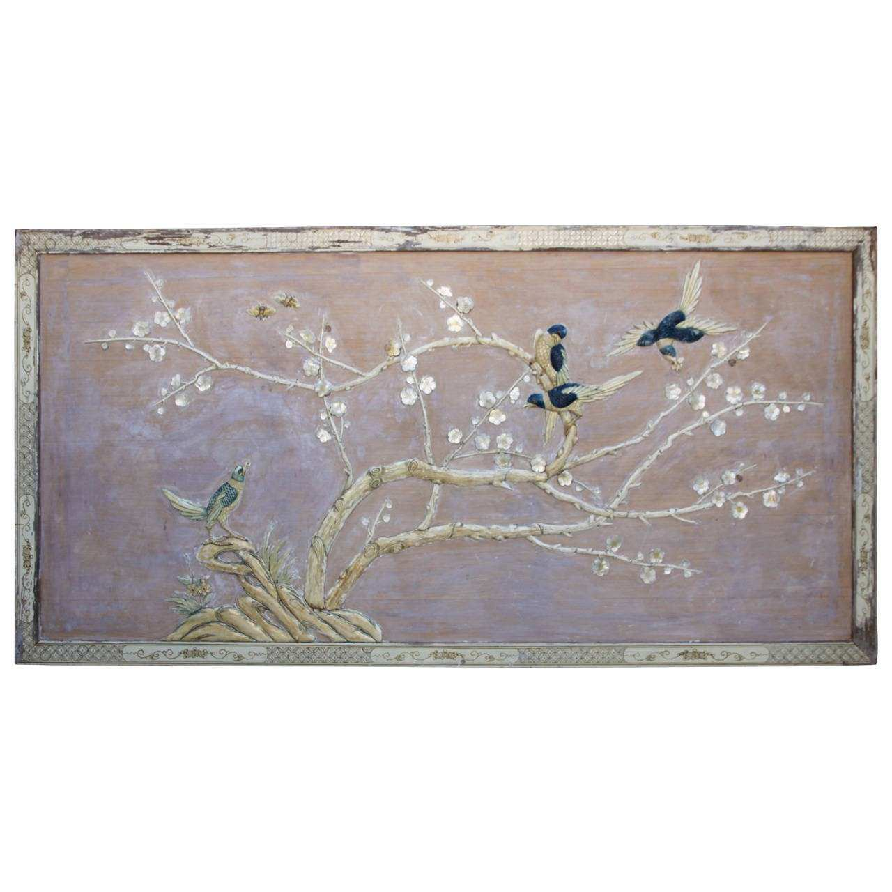 Wood and Mother of Pearl Asian Wall Hanging at 1stdibs