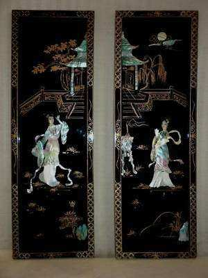 Asian black lacquer mother of pearl wall art panel pair