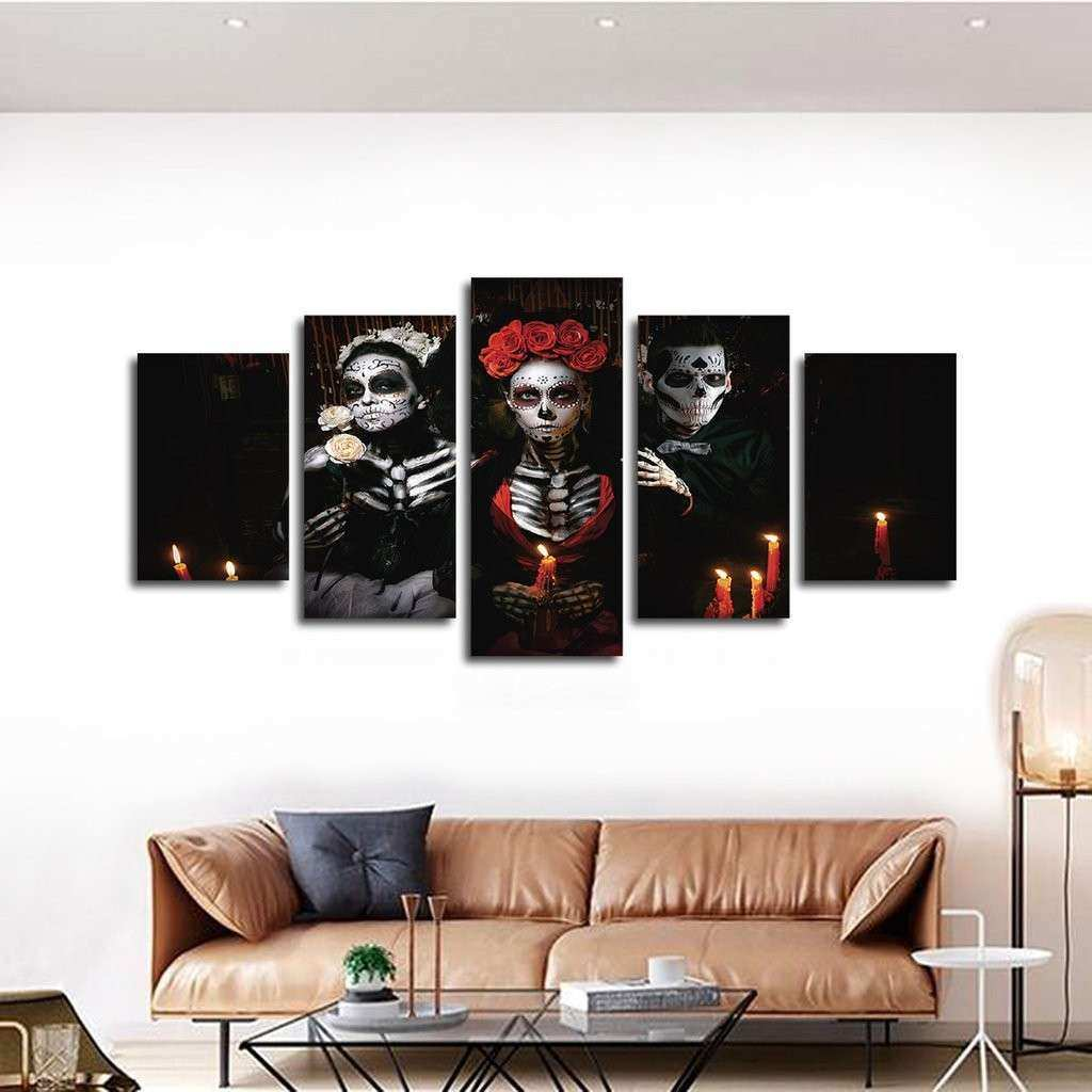 Day The Dead Multi Panel Canvas Wall Art