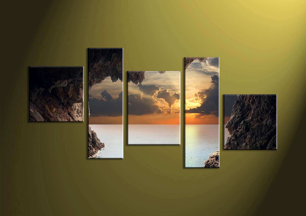 5 Piece Brown Canvas Sunset Ocean