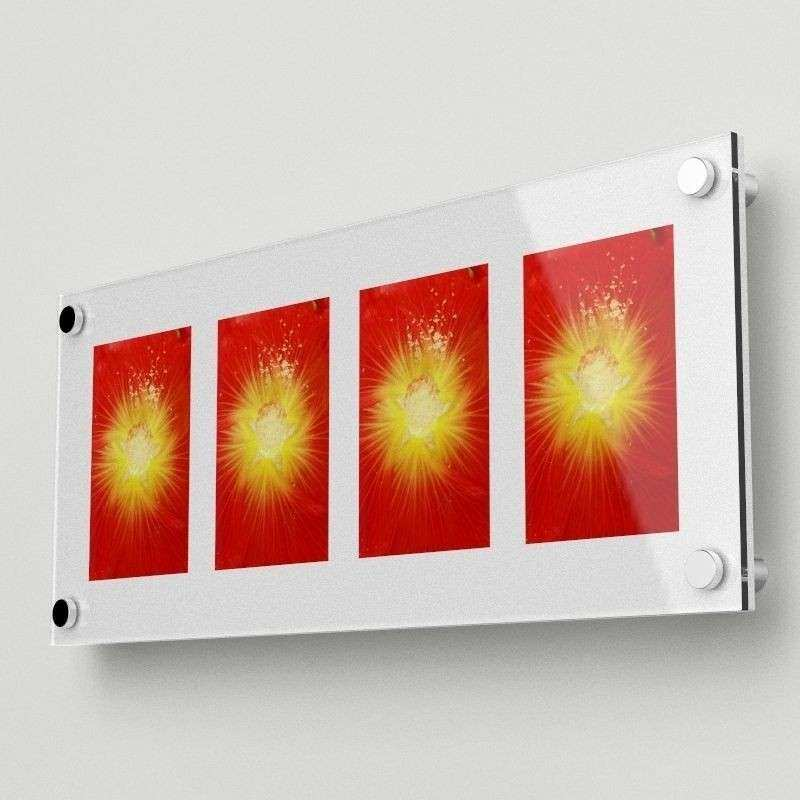 """Acrylic Wall Mounted Multi Picture frame holds four 4""""x6"""