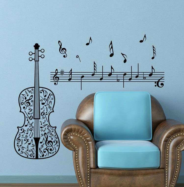 wall sticker decor Music note Guitar decal home