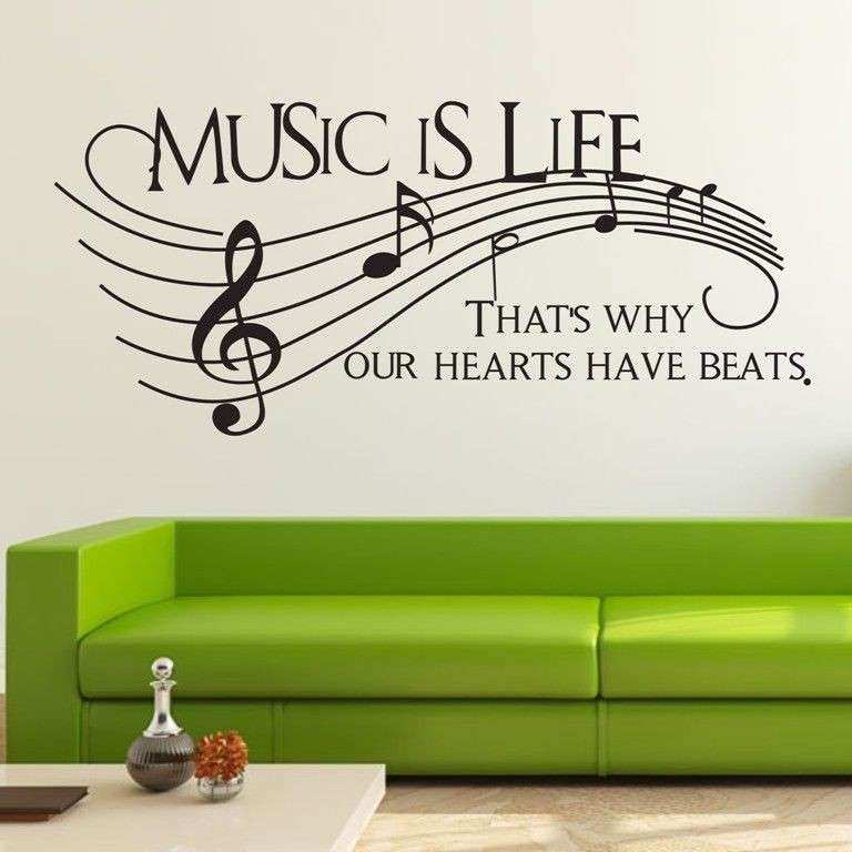 Music Is Life Musical Note Wall Decor Removable Home Vinyl