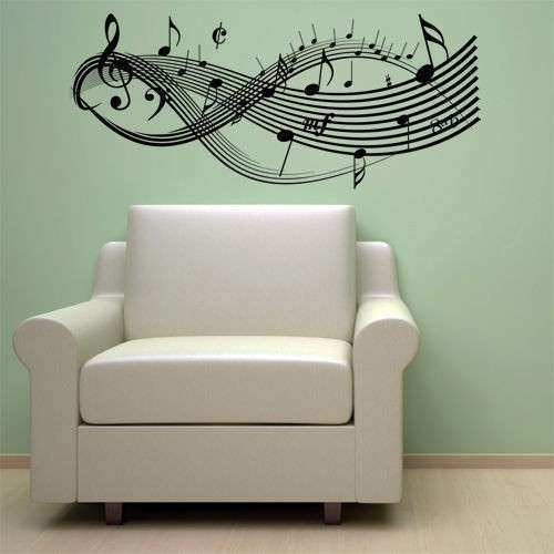 CLEF MUSIC NOTES VINYL WALL DECAL STICKER ART DECOR NEW