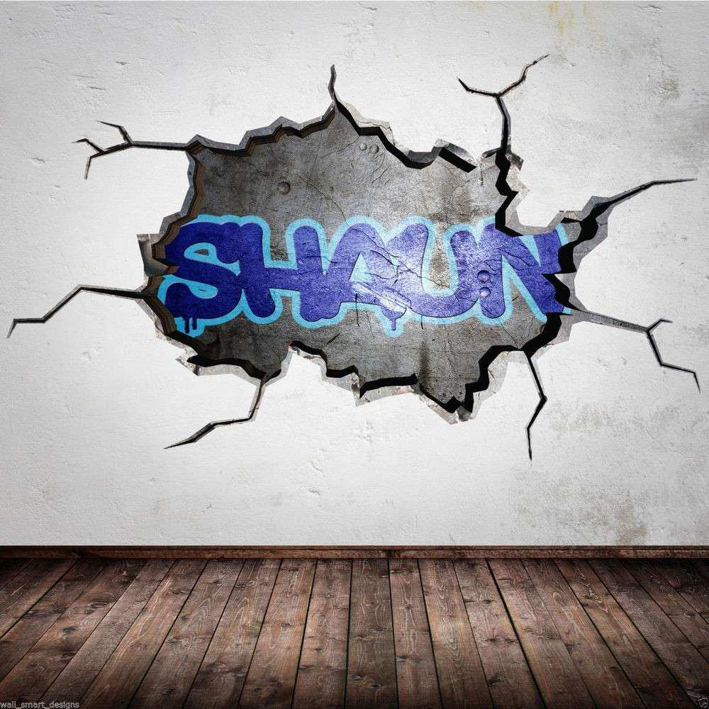 PERSONALISED GRAFFITI NAME Cracked 3D Wall Art Sticker