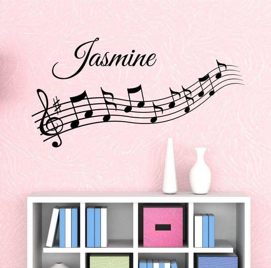 Music Notes Custom Name Wall Decal by Decor Designs