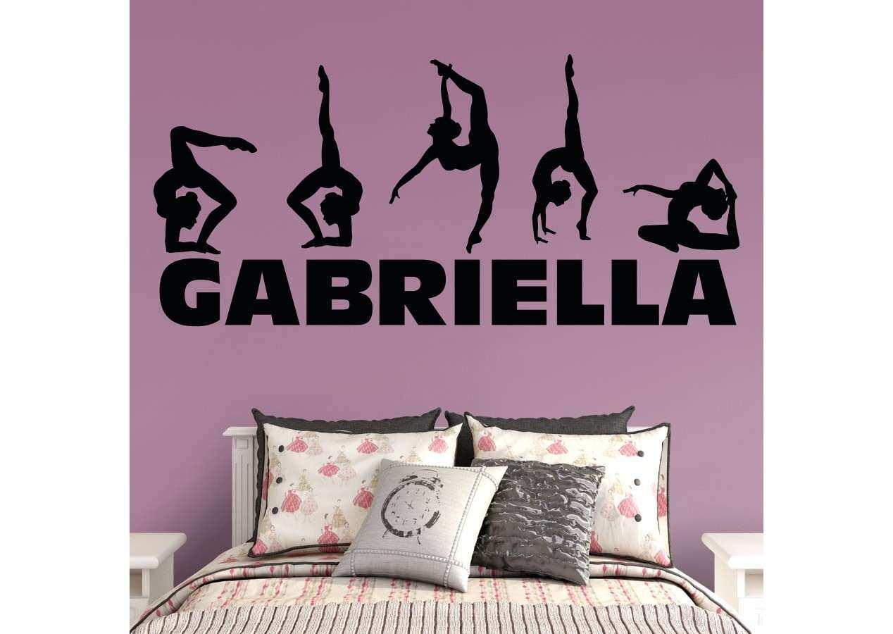 Gymnastics Personalized Name Wall Decal