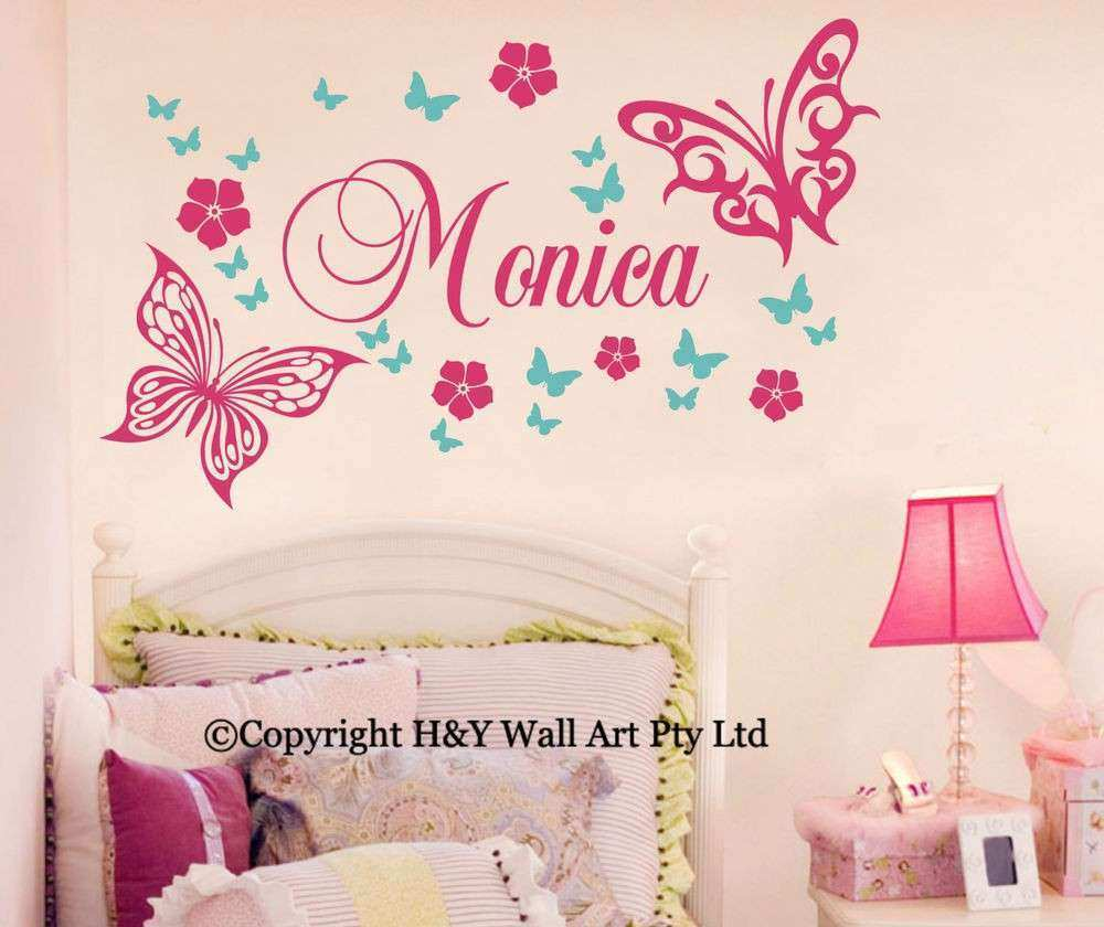 Butterfly Flowers Custom Personalised Name Wall Stickers