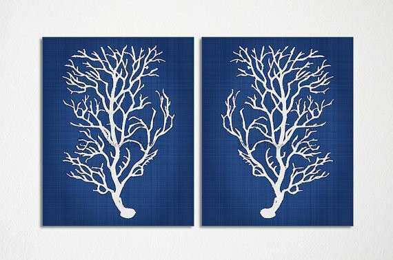 Navy Blue Wall Art Awesome Blue Coral Wall Art Navy Blue Coral Print Navy  White Wall