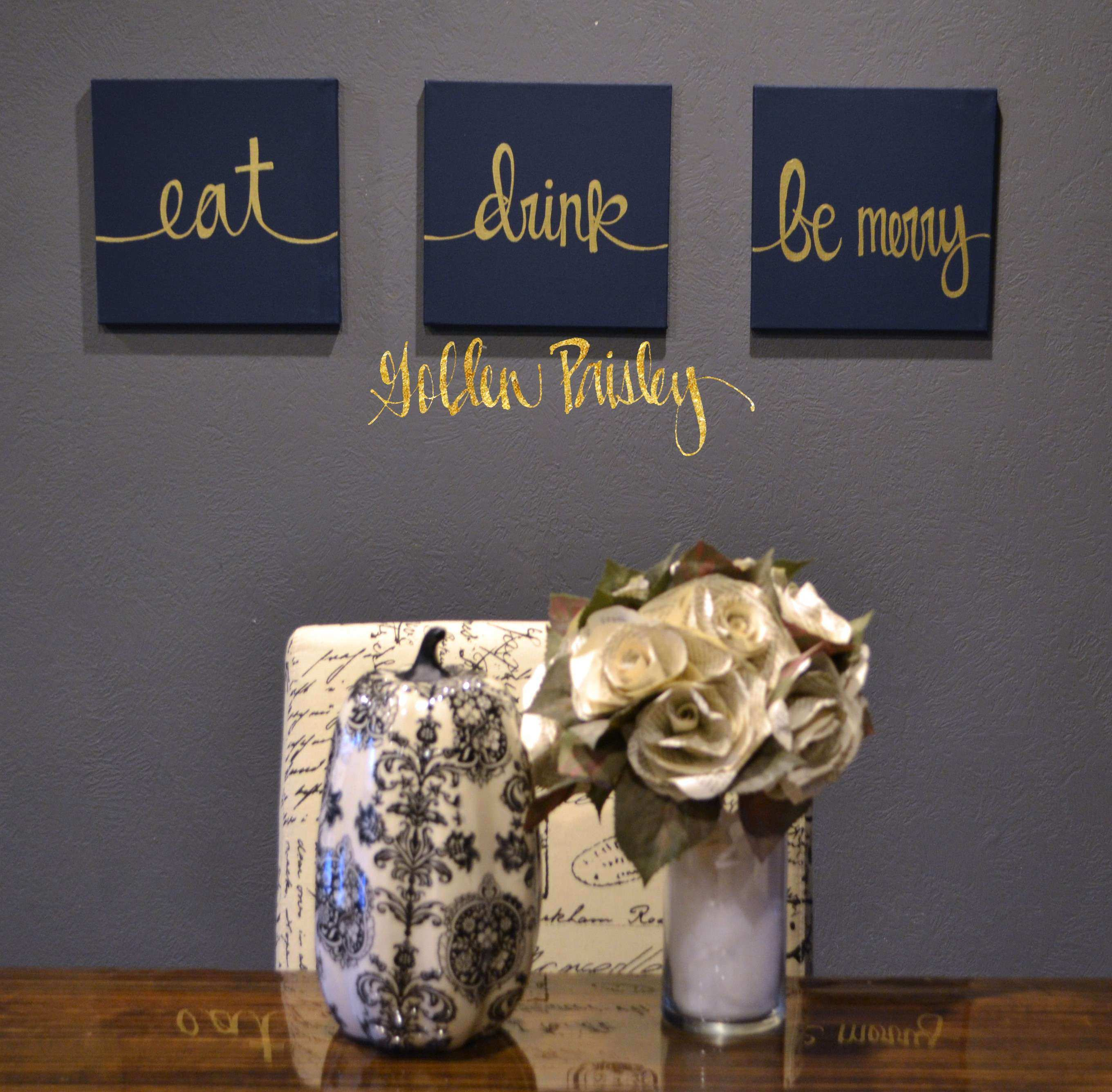 Eat Drink Be Merry Navy & Gold 3 Piece Wall Decor Set
