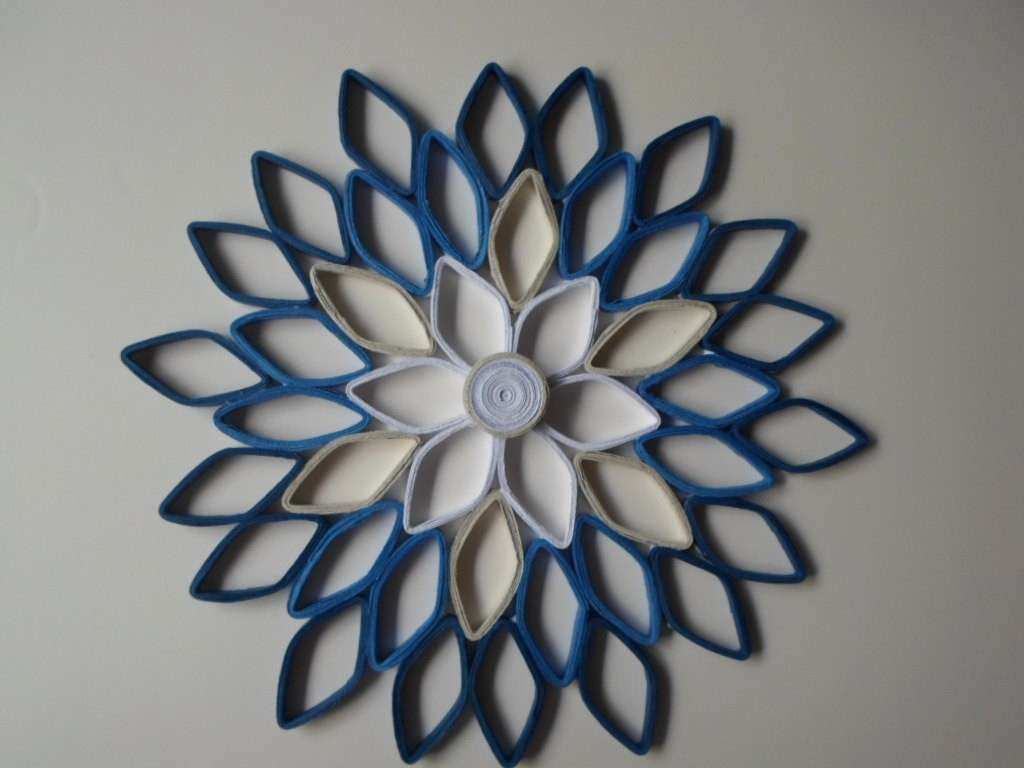 Navy home decor Paper dahlia wall hanging White navy blue