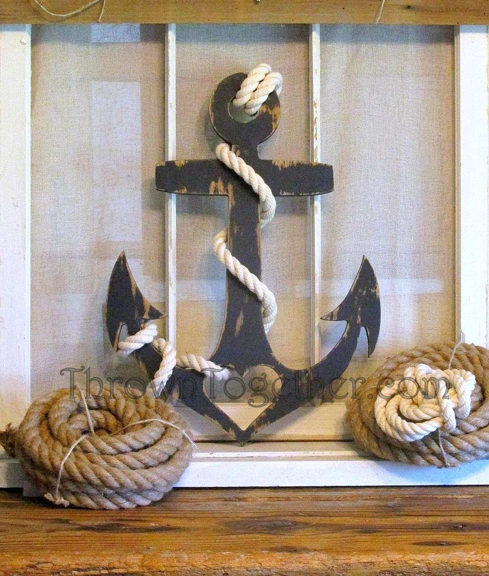Navy Blue Anchor with Heart and Rope Nautical Wall Decor