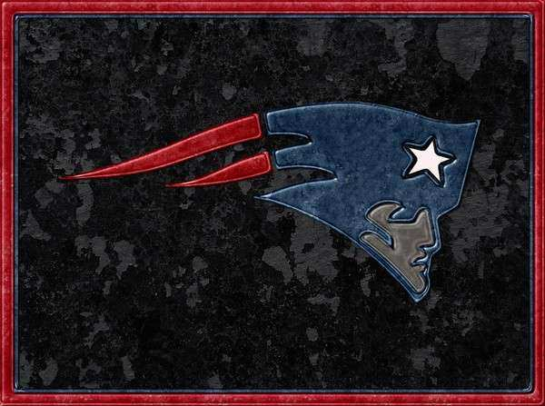 New England Patriots Logo Leather on Stone Art Print by