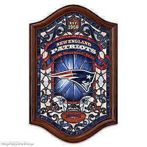 New England Patriots Illuminated Wood Frame Stained Glass