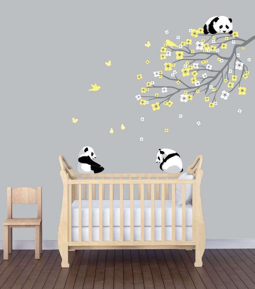 Flower Branch Panda Nursery Sticker Animal Wall Art