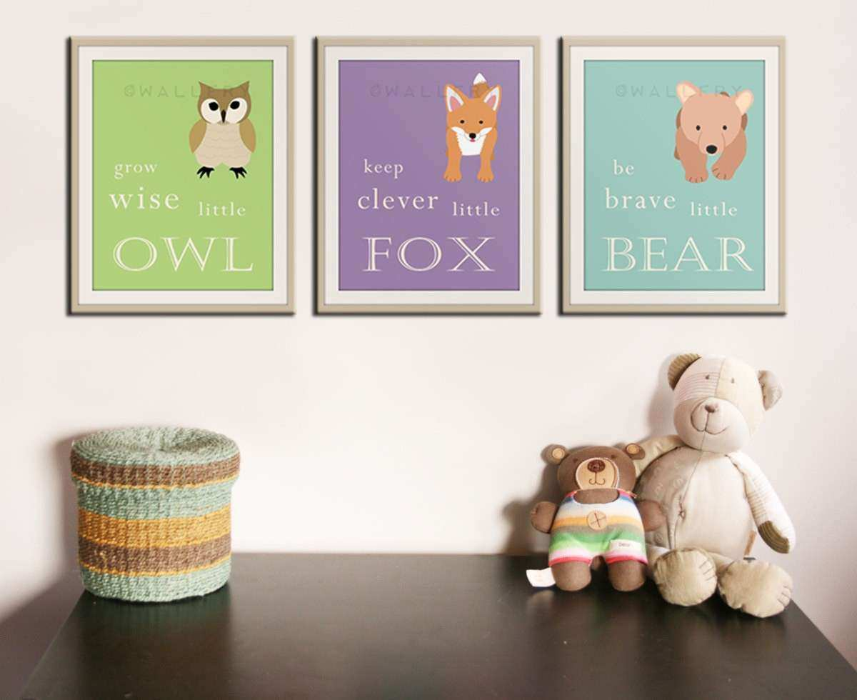 Be brave little bear Grow wise little owl Woodland nursery