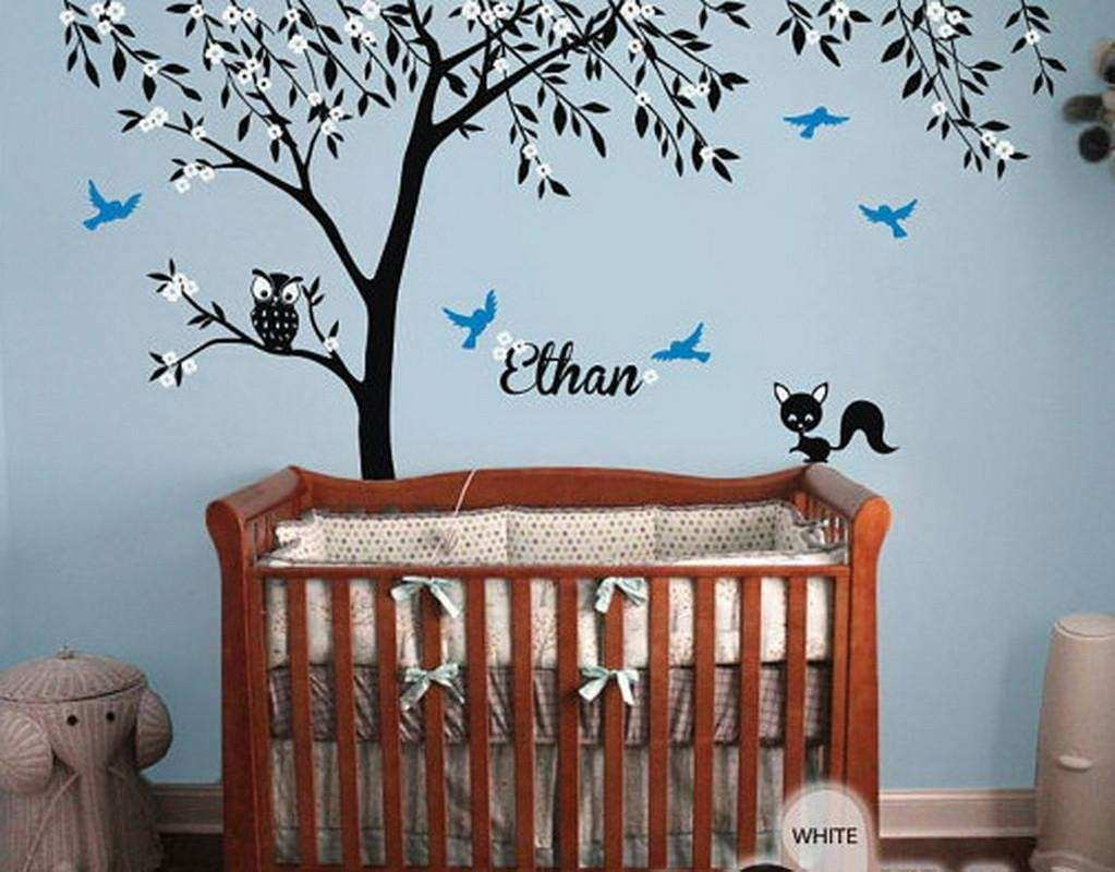 Owl Fox Bird Blossom Personalize Name Custom Tree Wall