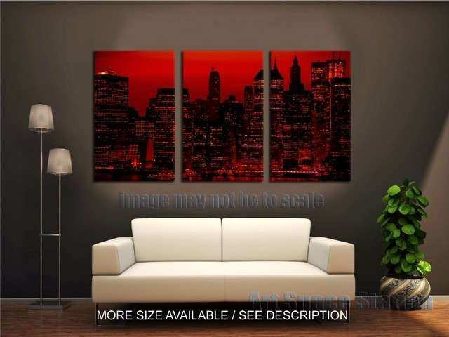 Nyc Framed Wall Art Lovely Red Sky at Night New York City Poster Print 3 Piece Large