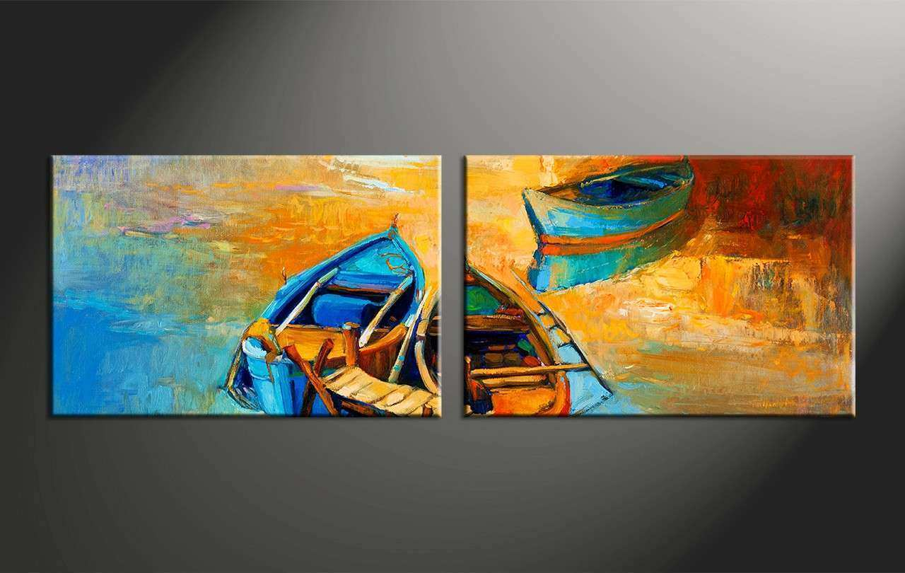 2 Piece Boat Ocean Oil Paintings Yellow Canvas