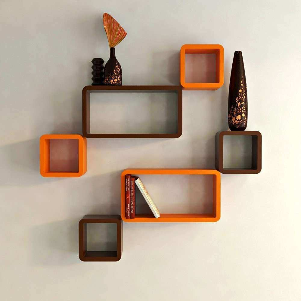 Six Cube Rectangle Wall Shelves Orange And Brown