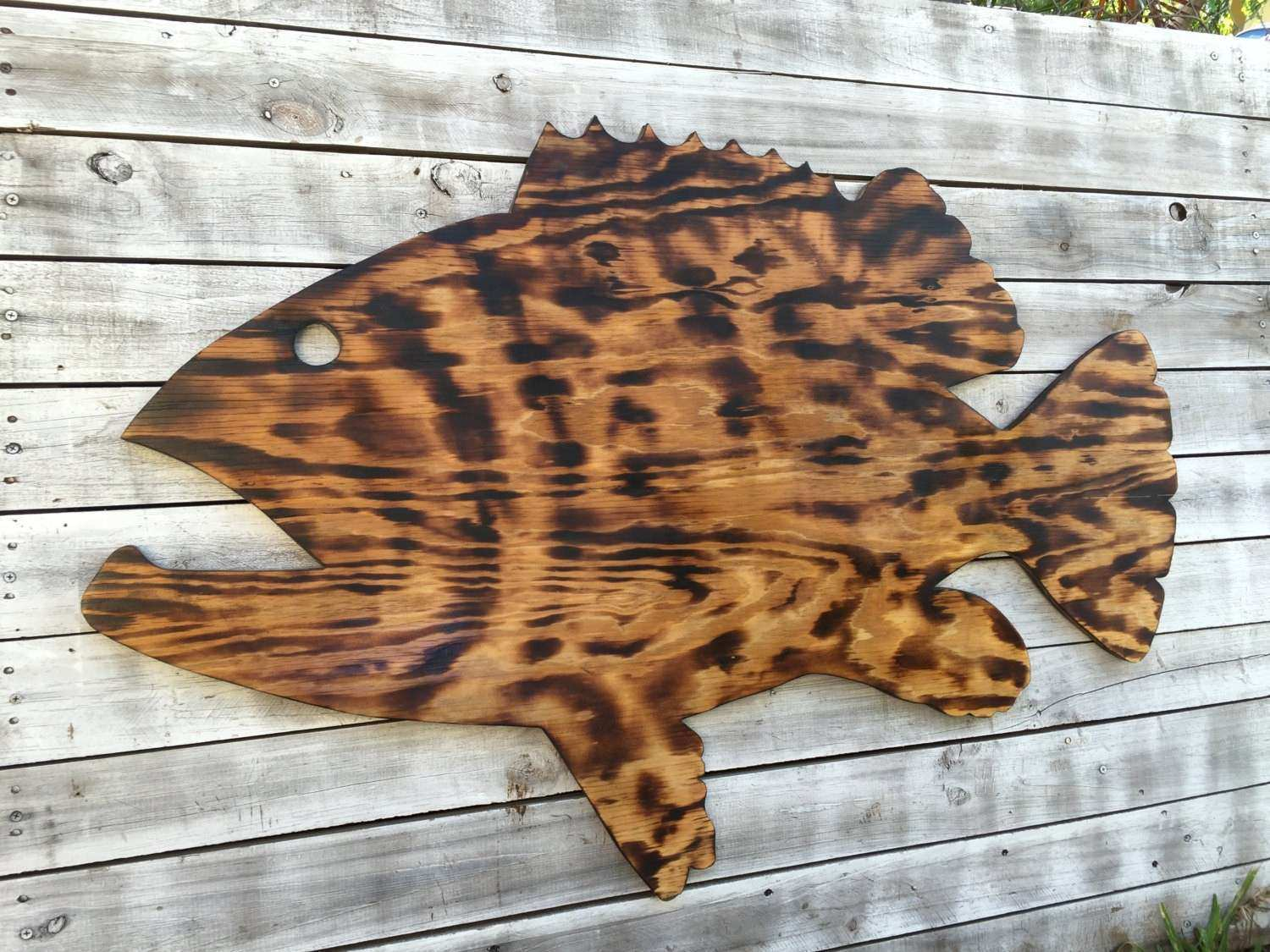 Outdoor Wall Art Fish Decor Coastal Fish Sign