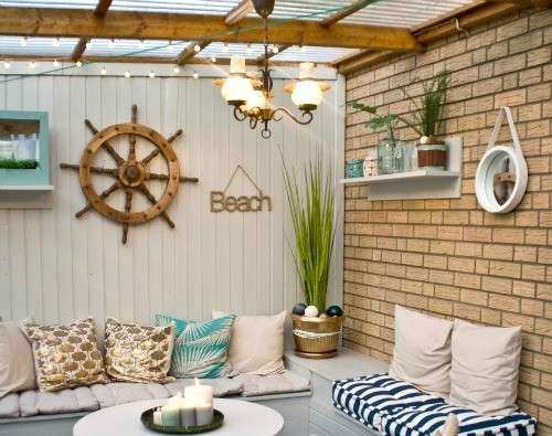 Nautical Beach Patio Makeover