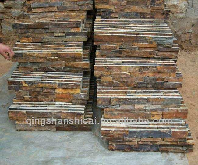 Outdoor Decorative Stone Wall Lovely Rusty Rough Self Adhesive Slate ...