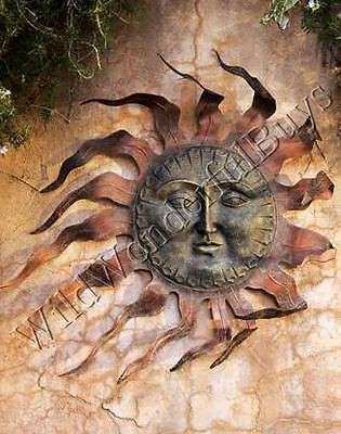 Copper Outdoor Sun Face Wall Art Garden Decor