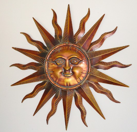 Copper Patina Sun Face Extra Sunburst Metal Wall Art