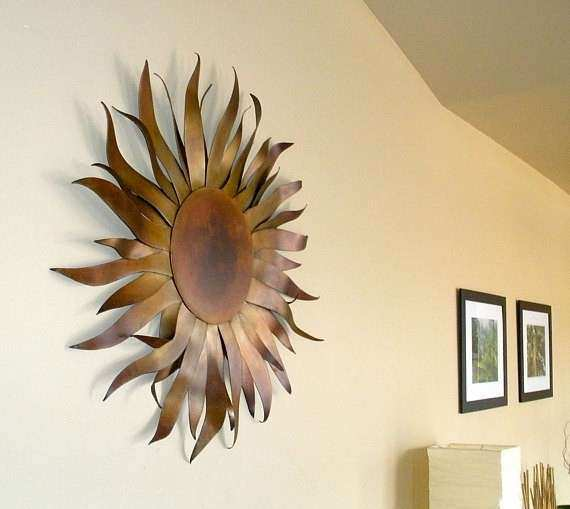Sun Sculpture Metal Garden & Home Art With Copper Patina