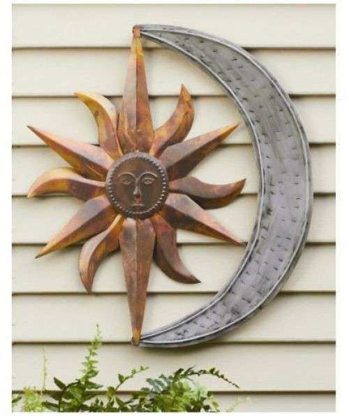 Wall Art Decor Sun Moon Metal Garden Sculpture Home Patio