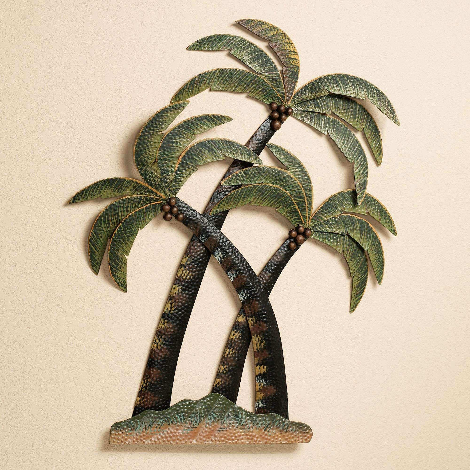 Outdoor Tropical Wall Decor Elegant Coco Palm Tree Metal Wall