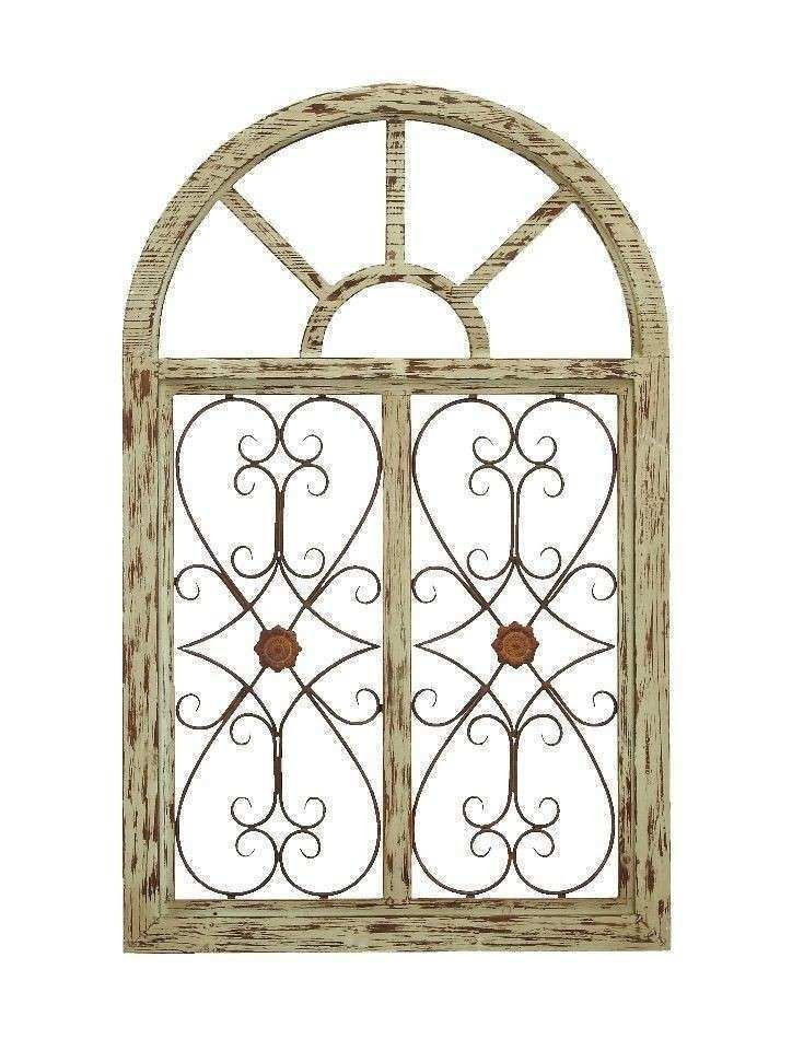 Victorian Gate Wood Wall Plaque Metal Distressed Beige