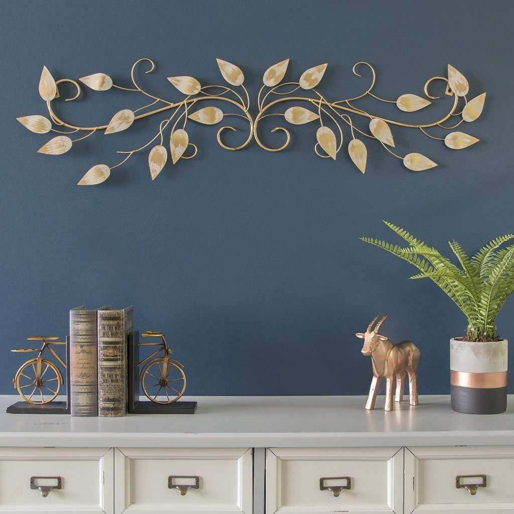 Stratton Home Decor Brushed Gold Over the Door Scroll Wall