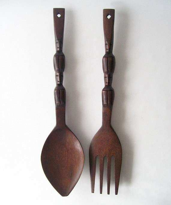 vintage wooden fork and spoon wall hanging by