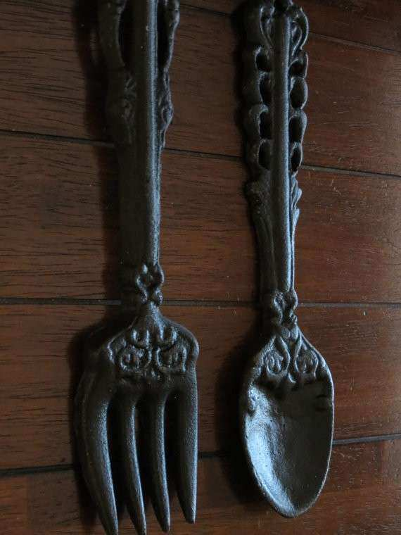 Oversized fork and Spoon Wall Decor New Black Oversized fork and ...