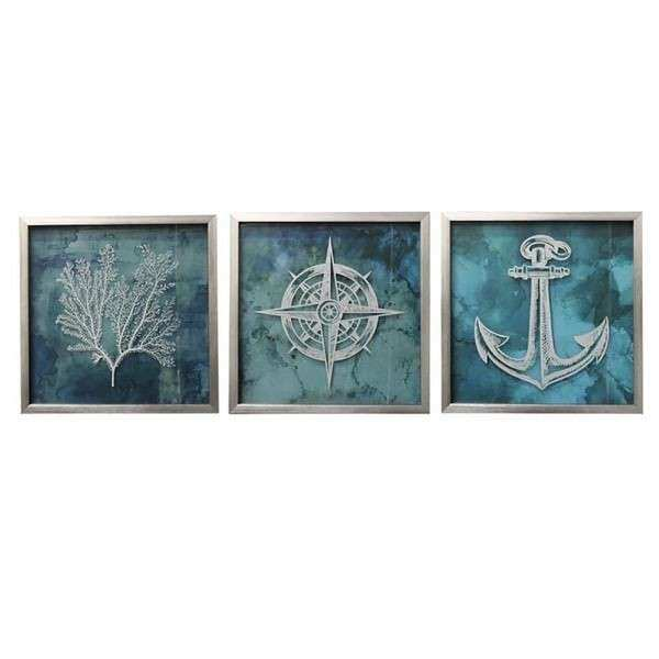 Coastal Collection Nautical Square Framed Wall Art Set of