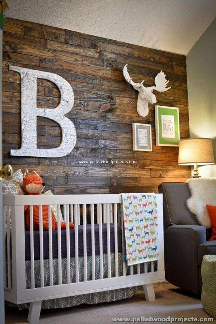 Accent Wall Made Out of Pallets