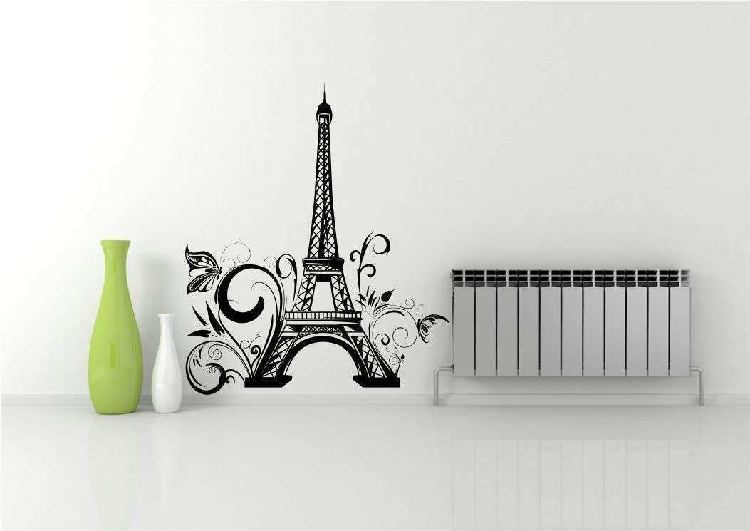 EIFFEL TOWER FLOWERS PARIS WALL ART STICKER DECAL MURAL